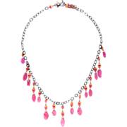 Pink Sapphire, Mandarin Garnet Sterling Silver Necklace