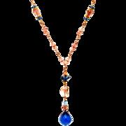 London Blue Topaz and Oregon Sunstone 14K and 18K Gold Necklace