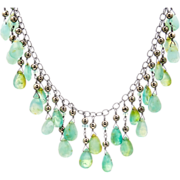 Peruvian Opal and Pyrite Necklace on Sterling Silver Chain