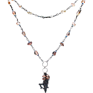 Sterling Silver Oregon Sunstone Necklace with Heart and Angel Wing