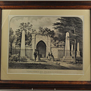 Original Currier & Ives Hand Colored Lithograph Tomb of Washington