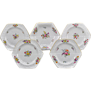 Antique Spode Porcelain 5 Piece Dessert Set Hand Painted Flowered Hexagonal Plates 1812