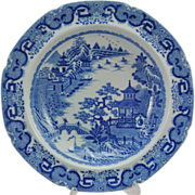 Antique Blue Spode Transferware Flying Pennant Lobed Soup Plate 1797