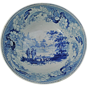 "Rare Turner Blue Transfer Staffordshire Punch Bowl ""The Villager"" Early 19th Cen"