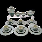 Mid Century Modern 22 Piece Studio Pottery Tea Set Volanic Glaze 1950s