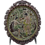 Staffordshire Earthenware Prattware Adam and Eve Plaque circa 1800
