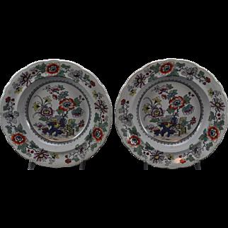 Pair of Masons Japan Fence Imari Stoneware Soup Plates circa 1835