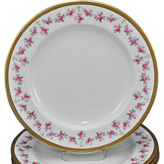Set of 8 Antique Royal Chelsea Raised Gold and Pink Roses Plates 1900