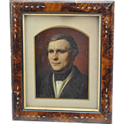 Antique English Portrait of a Young Man Victorian Oil Painting c 1840