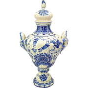 Vintage Italian Blue Faience Hand Painted Covered Urn