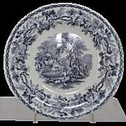 Set of 4 Antique Davenport British Scenery Lavender Transfer Dinner Plates 1856
