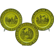 Antique 3 French Yellow Black Transfer Plates Paillart et Hautin Choisy 1824