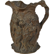 Antique Minton Signed Silenus Bacchus Brown Relief Molded Jug 1831