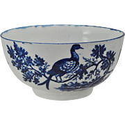 Antique 18th Century Worcester Birds in Branches Blue Transferware Bowl 1775