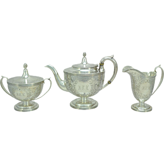 Antique Durgin Sterling Silver Ornately Chased Footed Three Piece Tea Set c 1895