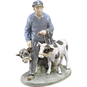 Early Royal Copenhagen Figurine Boy with Calves # 1858 Christian Thomsen