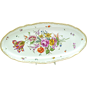 Beautifully Hand Painted Porcelain Meissen Long Floral Fish Platter