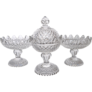 Rare Antique Anglo Irish Cut Crystal 3 Pc Garniture Compotes Early 19th Century