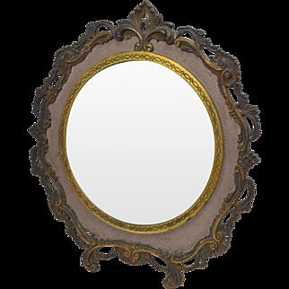 Victorian National Bronze & Iron Works Cast Brass Mirror circa 1900