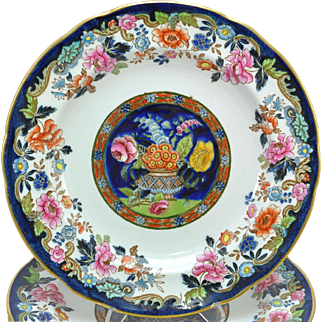18 Copeland Spode Hand Painted Victorian Basket of Flowers Plates 1890