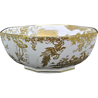 Royal Crown Derby Gold Aves 10 Inch Octagonal Bowl 1933