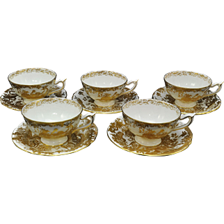 Royal Crown Derby Gold Aves Set of 5 Teacups and Saucers