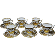 Royal Crown Derby Gold Aves Set of 6 Demitasse Cups and Saucers