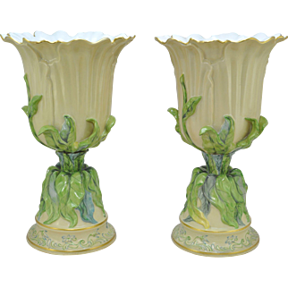 Rare Pair of 18 Inch Tall Flared Herend Naturalistic Porcelain Urns