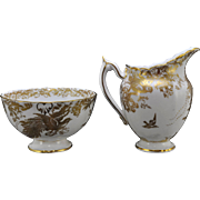 Royal Crown Derby Gold Aves Creamer and Open Sugar Bowl