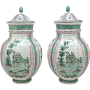Rare Pair of 21 Inch Tall French Faience Covered Jars After Sceaux 19th Century