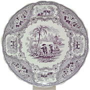 Adams Columbus Early 19th Cen Purple Transfer Staffordshire Plate 1835