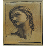 Pre-Raphaelite Framed Drawing of a Woman's Head M.S.C. 1887