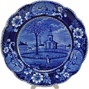 Historical Dark Blue Staffordshire Clews View of Pittsfield Mass Plate c 1830