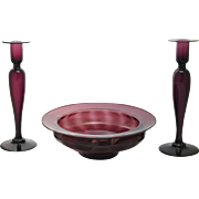 Pairpoint Blown Amethyst Glass Candlesticks Bowl Console Set Vertical Optic