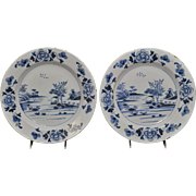 Rare Early Pair of Bristol English Delft Blue & White Chargers 18th Century
