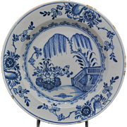 Rare Early Bristol English Delft Blue & White Willow Charger 18th Century