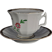 """Antique """"Affections Gift"""" HP Staffordshire Cup and Saucer 19th Century"""
