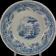 """Large Jamieson Blue Transferware """"Florentine Villas"""" Bowl 1840"""