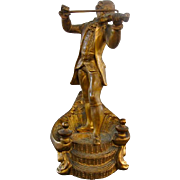 French Gilt Bronze Violin Player