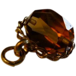 Seal Gold 9ct Swivel Spinner Citrine Amber Pendant English.