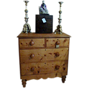 Antique Pine Chest of Drawers Victorian 19th Century.