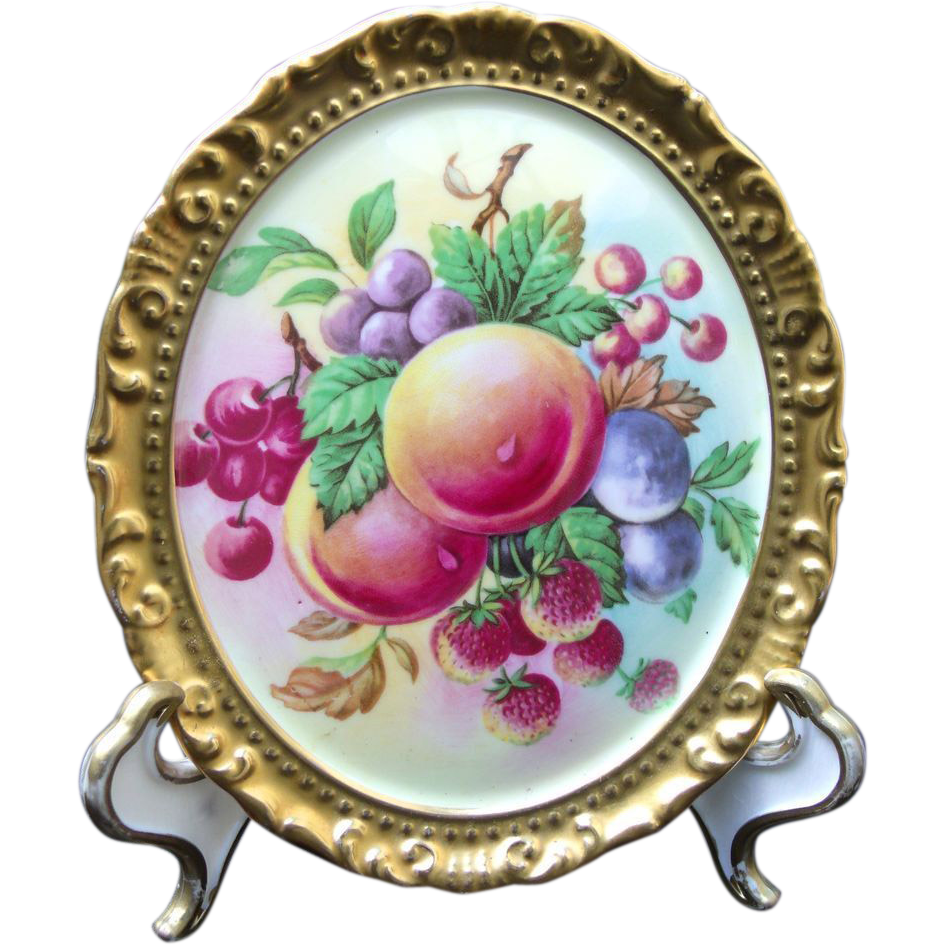 Paragon Fine Bone China Wall Plaque Mixed Fruit Peach Plums Strawberry Cherries Grape.