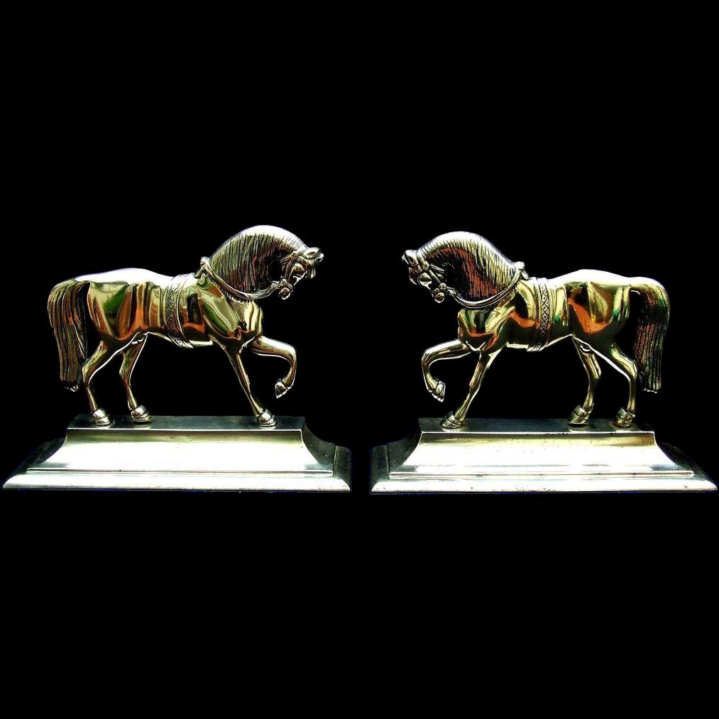 Antique Welsh Brass Horses Pair Folk Art.