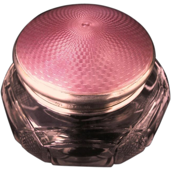 Pink Guilloche Enamel Engine Turned English Silver Sterling Hallmarked Cut Glass Jar.