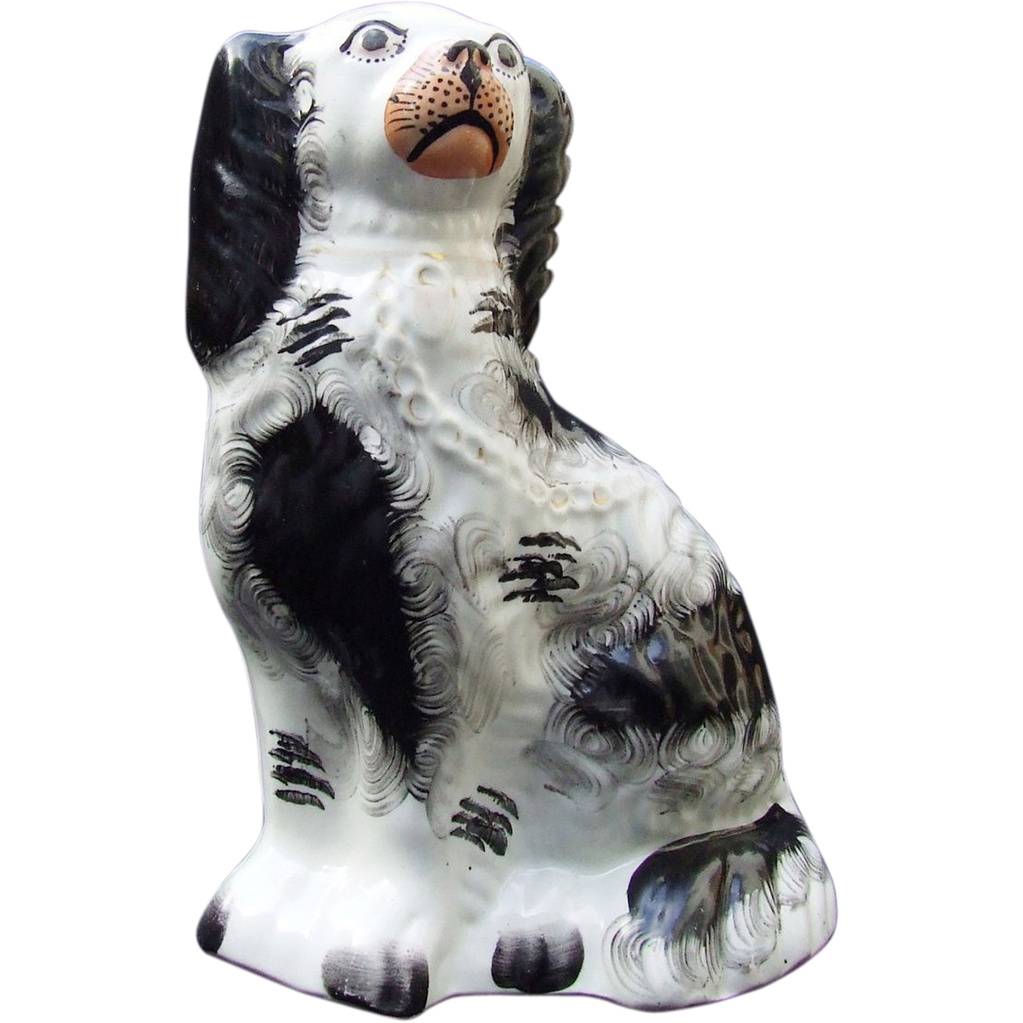 Antique Staffordshire Pottery Spaniel 19th Century Black Painted Decoration Gold Chain Padlock.