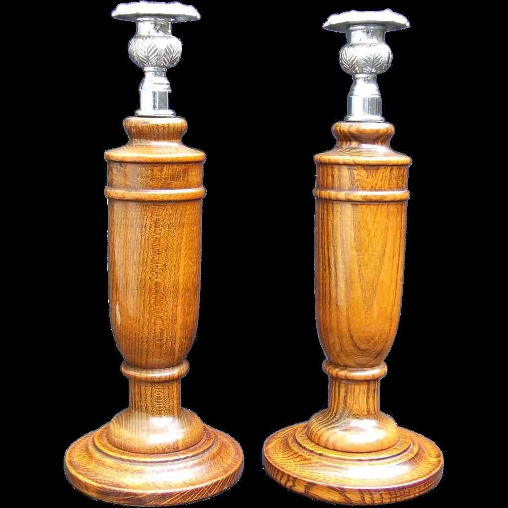 Wood Oak Turned Candlesticks Chromed Cast Brass Sconces Cork Varnish Art Deco.