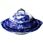Watteau Flow Blue Circular Tureen New Wharf Pottery & Co. Burslem Staffordshire Ironstone Antique.