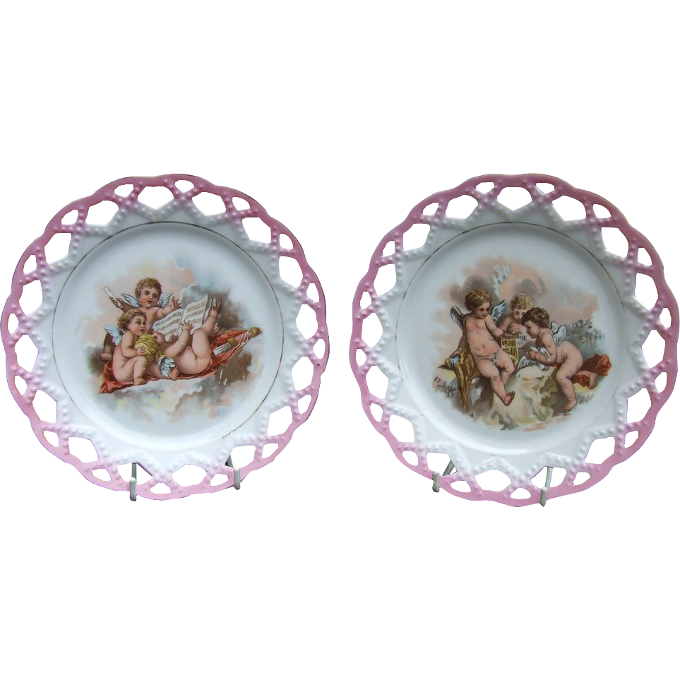 Antique Porcelain Ribbon Plate Printed Cherubs Music French German. orAustrian.