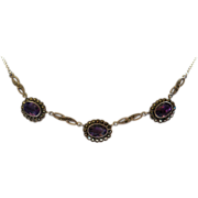 Sterling Silver Amethyst Marcasite Necklace.