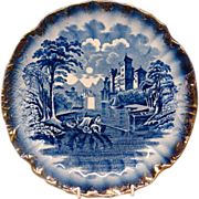 Staffordshire Antique Blue White Plate Gold
